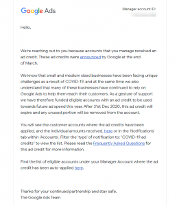 Google Credit Email Example